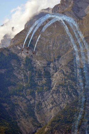 SION, SWITZERLAND - SEPTEMBER 15, 2017: Breitling Jet Team in Breitling Air Show