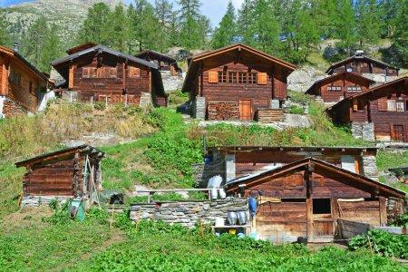 Chalets de montaña suizos tradicionales en la aldea de verano de montaña con pequeña granja en primer plano