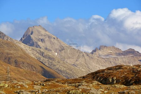 Photo for The Muttenhorner mountain (left of centre) seen from the Grimsel Pass in the Southern Swiss Alps - Royalty Free Image
