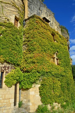 Photo for An ivy covered old house with turret below a cliff at Roque-Gageac in France - Royalty Free Image
