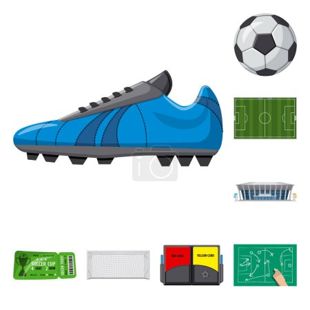 Isolated object of soccer and gear logo. Set of soccer and tournament vector icon for stock.