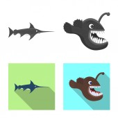 Vector illustration of sea and animal symbol Collection of sea and marine stock symbol for web