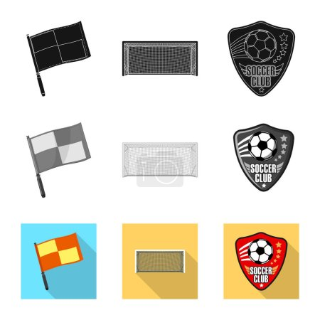 Vector illustration of soccer and gear symbol. Set of soccer and tournament stock vector illustration.