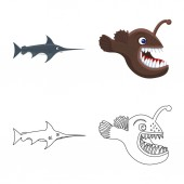 Vector illustration of sea and animal icon Collection of sea and marine stock vector illustration