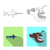 Vector design of sea and animal sign Set of sea and marine stock vector illustration