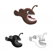 Vector illustration of sea and animal sign Collection of sea and marine vector icon for stock