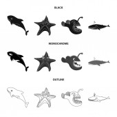 Isolated object of sea and animal logo Set of sea and marine stock vector illustration
