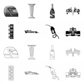 Vector design of car and rally sign Collection of car and race stock symbol for web