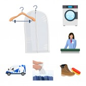 Isolated object of laundry and clean sign Set of laundry and clothes stock vector illustration