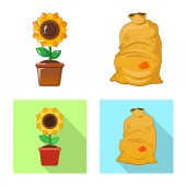 Isolated object of farm and agriculture symbol Set of farm and plant stock symbol for web