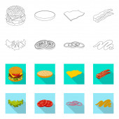 Isolated object of burger and sandwich logo Collection of burger and slice stock symbol for web