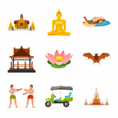 Vector illustration of thailand and travel logo Collection of thailand and culture stock symbol for web