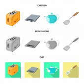 Isolated object of kitchen and cook symbol Collection of kitchen and appliance stock vector illustration