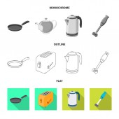 Isolated object of kitchen and cook sign Collection of kitchen and appliance stock vector illustration