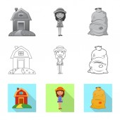 Isolated object of farm and agriculture symbol Set of farm and plant stock vector illustration