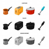 Vector design of kitchen and cook sign Collection of kitchen and appliance stock symbol for web