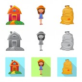 Isolated object of farm and agriculture logo Collection of farm and plant stock vector illustration