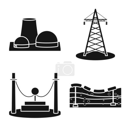 Illustration for Isolated object of technology and bio symbol. Set of technology and alternative stock vector illustration. - Royalty Free Image