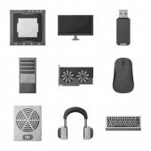 Vector illustration of desktop and technology logo Set of desktop and device stock symbol for web