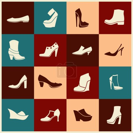 Flat icons with different kinds of shoes...