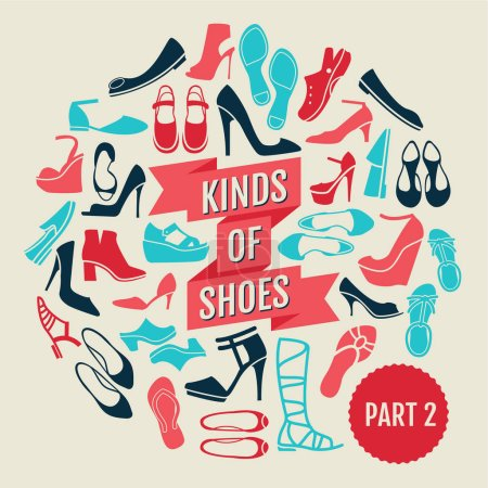 Kinds of shoes. part 2. set of flat icons...