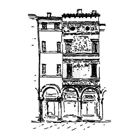 Hand-drawn traditional Italian street houses. Blac...