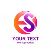 Initial letter ES logo template colorfull circle design for business and company identity