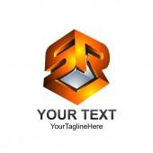 3D Letter SR or SRL initial alphabet logo design template element