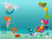 Mermaid children swimming with fish under the sea Underwater world with corals