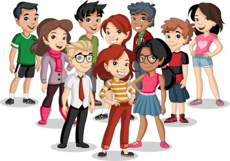 Illustration pour Groupe de jeunes enfants dessin animé. Adolescents . - image libre de droit
