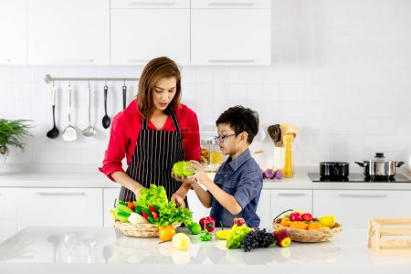 Beautiful Asian woman in red shirt and black  apron teaching her son how to arrange fake fruits and vegetables for decoration in white clean kitchen.