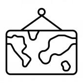 World map line icon vector illustration