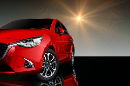 Photo for Front Car red color on black background for customers. Using wallpaper - Royalty Free Image