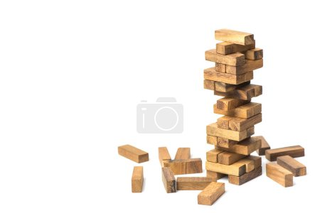 Jenga game, The tower from wooden blocks from the top view, Jenga. Concept : Business, contruction, engineering, planning.