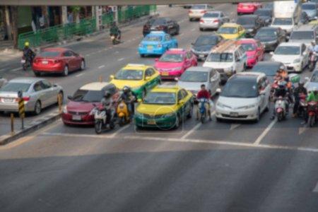 Abstract blurred traffic jam in Bangkok Thailand.