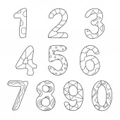 Friendly Outlined Cartoon Numbers Set
