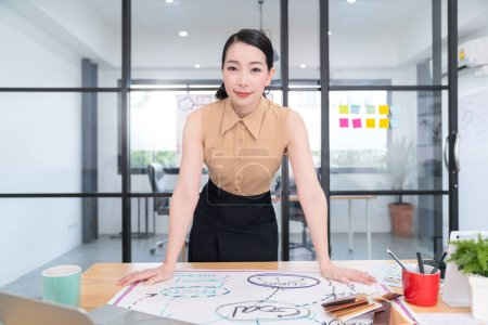 Photo for Attractive smart beautiful asian female cheerful woman working from home with laptop and equipment,executive asian woman confident smile while working white room background business concept - Royalty Free Image