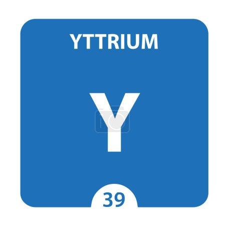 Photo pour Symbole d'Yttrium. Signez Yttrium avec le nombre atomique et le poids atomique. Y Élément chimique du tableau périodique sur un fond blanc brillant. Expériences en laboratoire. science ant technologie concep - image libre de droit