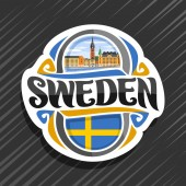 Vector logo for Sweden country fridge magnet with swedish flag original brush typeface for word sweden and swedish symbol - Riddarholmen church in Stockholm near river on blue cloudy sky background
