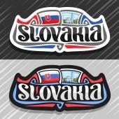 Vector logo for Slovakia country fridge magnet with slovakian flag brush typeface for word slovakia national slovakian symbol - Blue Church of St Elizabeth in Bratislava on cloudy sky background