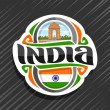 Vector logo for India country, fridge magnet with ...