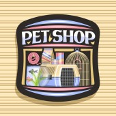 Vector logo for Pet Shop black decorative label with illustration of plastic transport box for cat aquarium with goldfish and seaweed in water curled up dog lead original font for words pet shop