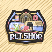 Vector logo for Pet Shop black decorative badge with illustration of transport box for cat plastic scoop aquarium with goldfish in water and curled up dog lead original font for words pet shop