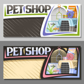 Vector layouts for Pet Shop with copy space sign board with illustration of plastic travel box for cat and aquarium with goldfish in water and curled up dog lead original font for words pet shop