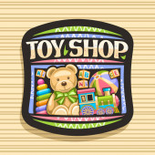 Vector logo for Toy Shop black decorative sign board with illustration of steam train inflatable ball soft teddybear plastic pyramid and wooden kids cubes original typeface for words toy shop