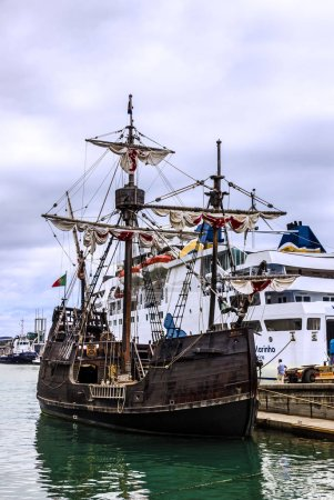 Vintage vessel Santa Maria da Colombo in port, Madeira, Funchal, Portugal