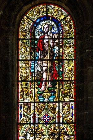 Vitrage window of church in Monastery of Jeronimos, Lisbon, Portugal