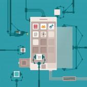 Vector concept of mobile software application development process for smart phones