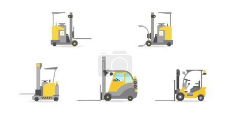 Illustration for Vector warehouse cars set in flat style - Royalty Free Image