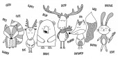 Cute bear badger fox roe deer bunny - Vector hand drawn doodle character illustrations for posters cards t-shirts